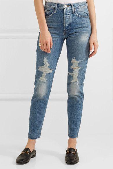 Rigid Re-release Le Original Distressed High-rise Straight-leg Jeans - Blue Frame Denim UEEvnF