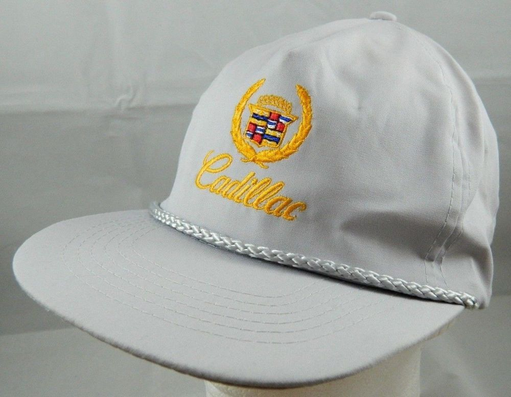 85c9865a44fcc Vintage Gray   Gold CADILLAC Snapback Trucker Hat Ball Cap Car Braided Brim  Band  KCHatCompany  TruckerHat