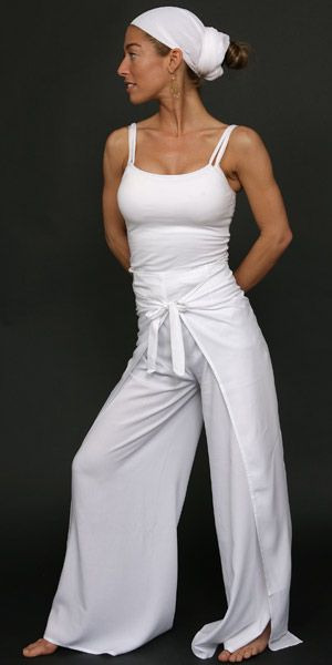 Thai Rayon Double Wrap Pants - One Size Fits All - White ...