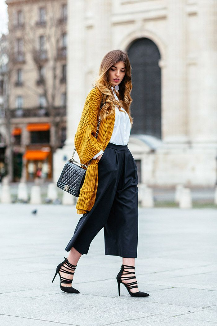 Side pockets cardigan + Culottes Kristi Gogsadze waysify