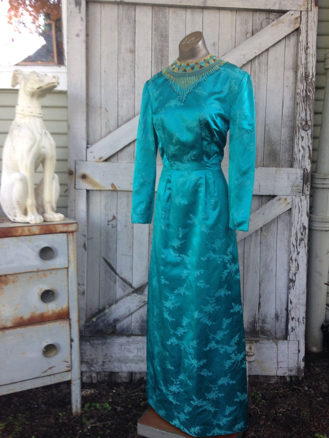 Reserved s dress teal gown evening gown s gown silk dress