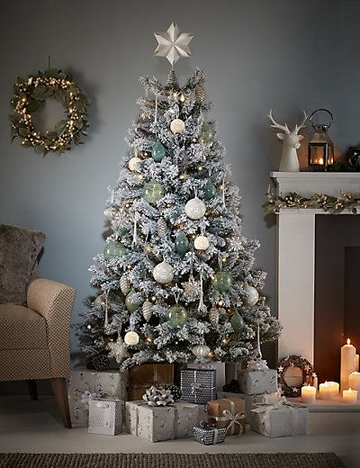 6Ft Snowy Woodland White Flock Christmas Tree | M&S - 6Ft Snowy Woodland White Flock Christmas Tree Jingle Bell Time