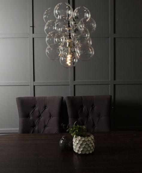 Bubble Chandelier Ceiling Light, Statement Glass Pendant Lig…