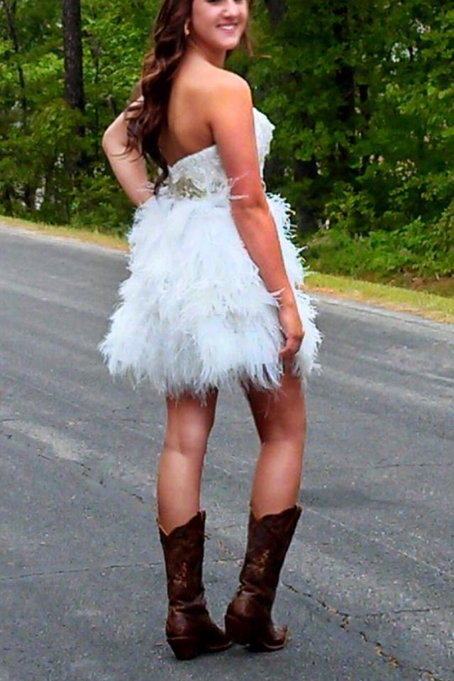 Short Ostrich Feather Prom Dress With Beaded Top And Gold Accents