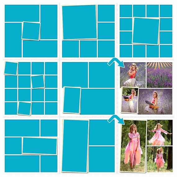 Storyboard, Set of 7 Collage Template PSD 12x12 Photo Collage - digital storyboard templates