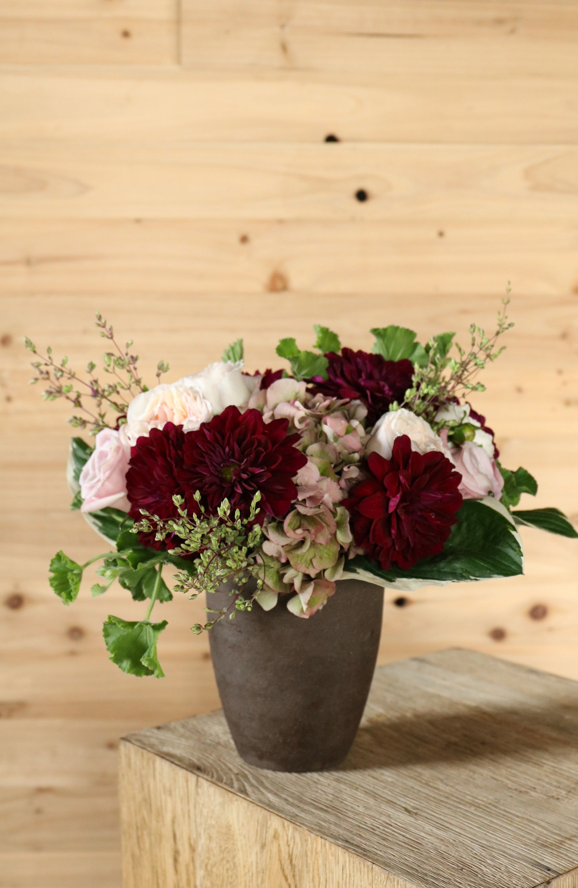 Local dahlias in shades of rich merlot 'Natural Classic