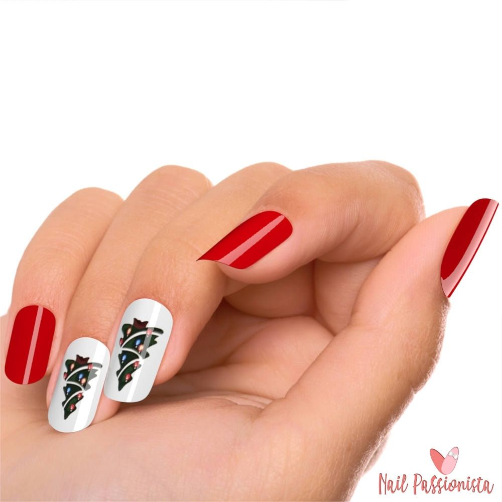 Christmas Tree Red Nails Holiday Season Fake Nails Kit | Acrylic ...