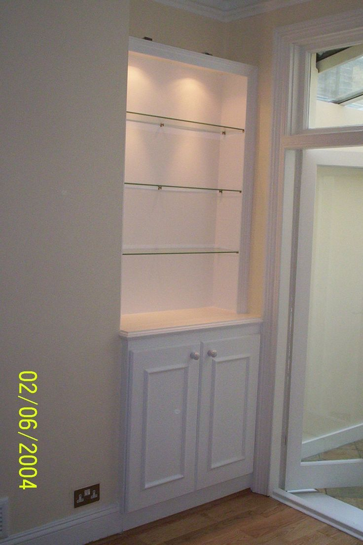Add light to your recessed shelves for a dramatic touch for Bathroom alcove shelves