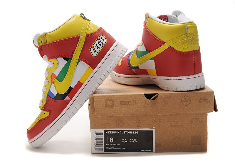 Cheap Exclusive Lego Nike Dunks High Tops Custom Shoes
