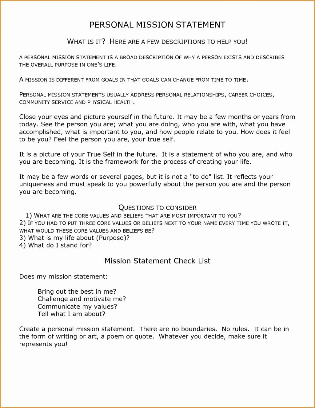 Non Profit Mission Statement Template New Resume Exa Vision Example Personal Core Value Essay