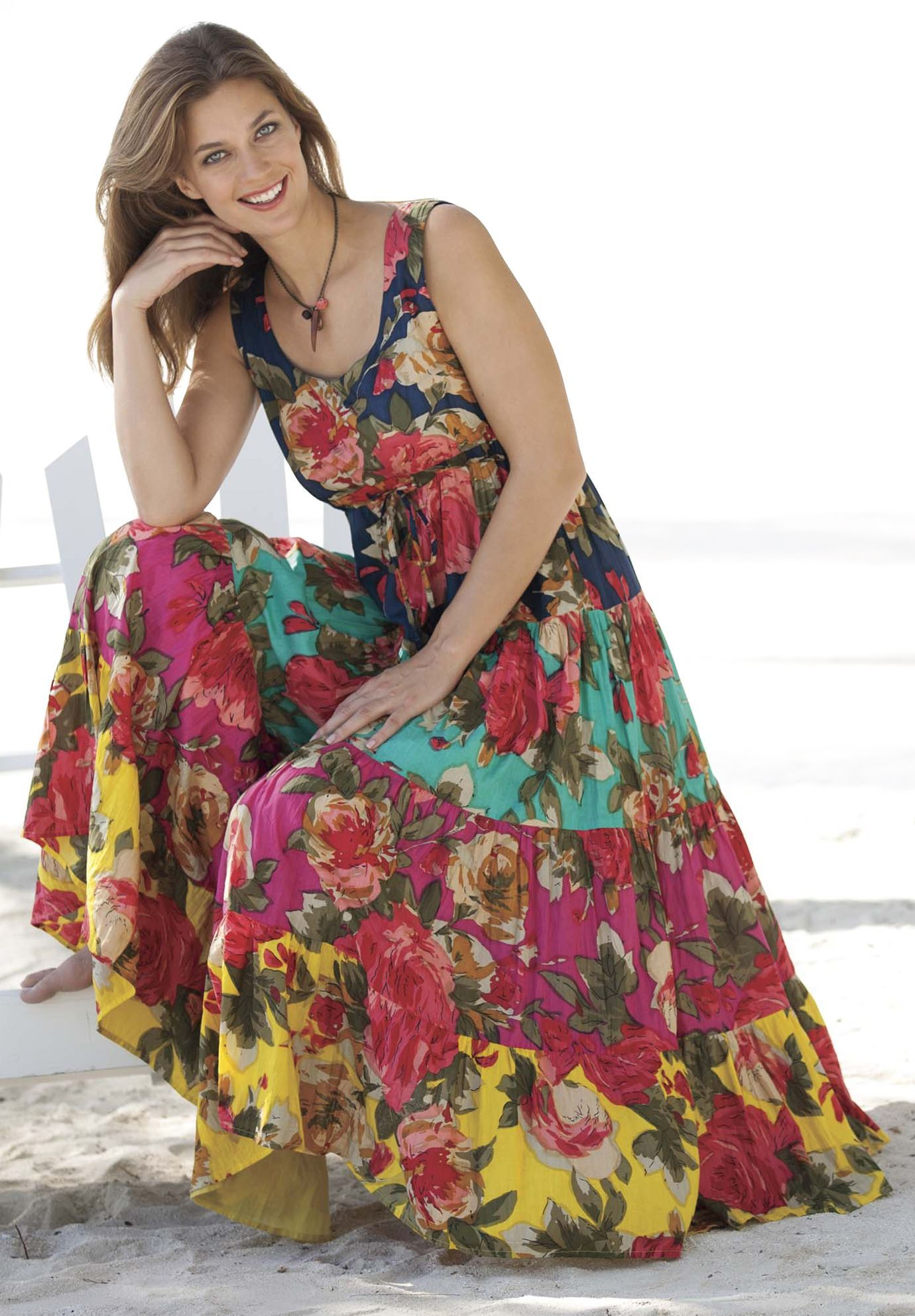 Dress in cool cotton with 3 tiers | Plus Size Dresses ...