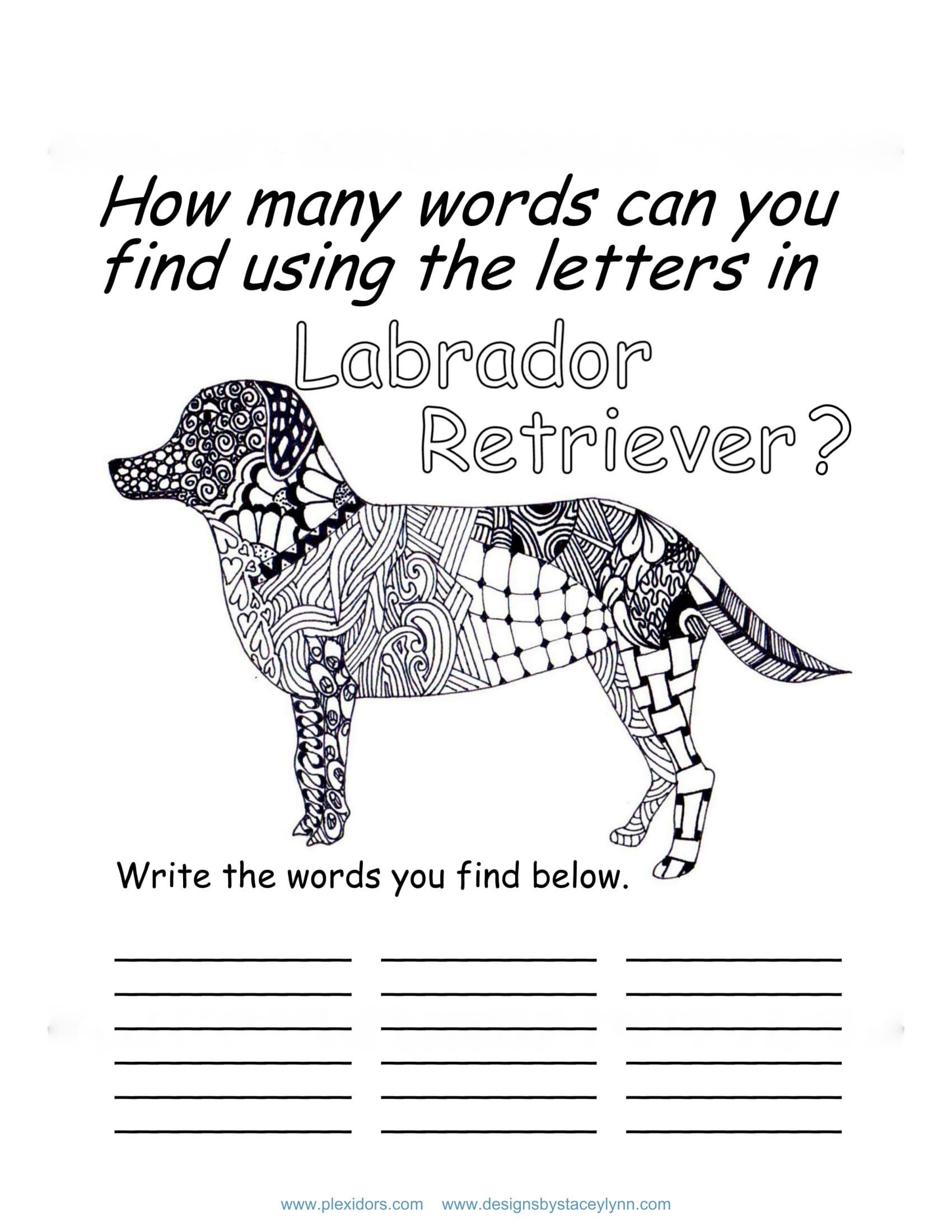 Labrador Retriever Coloring Page And Word Scramble