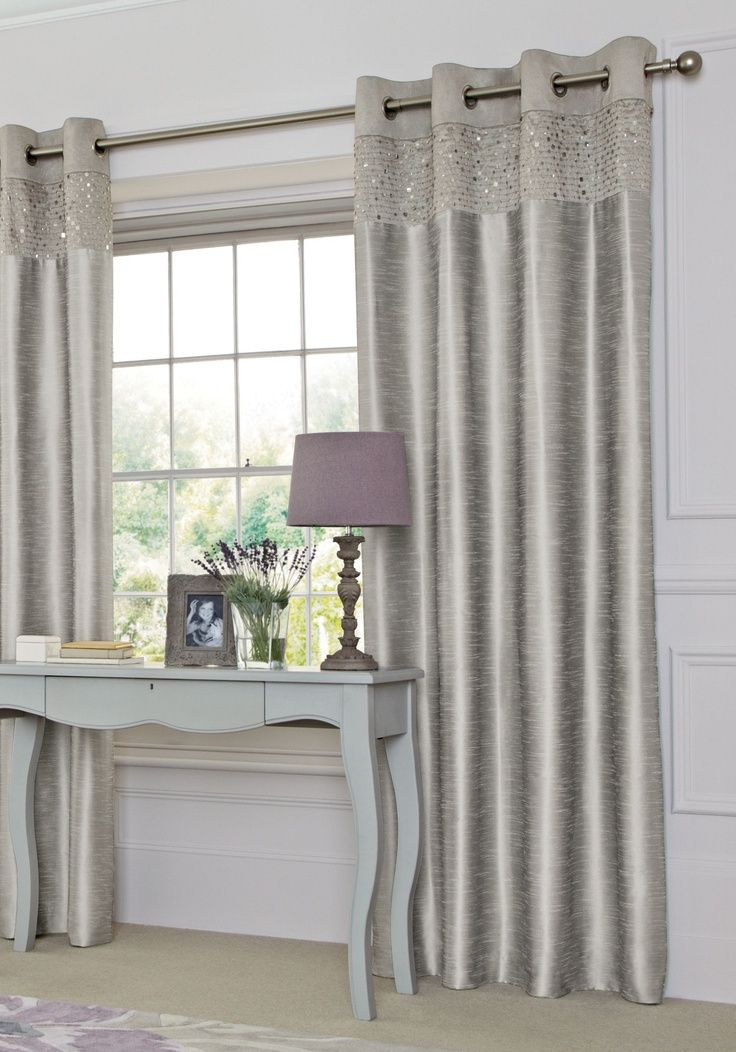 Silver Sequin Banded Eyelet Curtains From The Next Uk Online