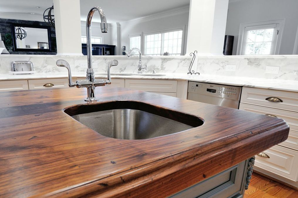 Distressed Black Walnut Heritage Wood Kitchen Countertop Is One Of The More Sanitary Types Countertops It Has Properties That Resist