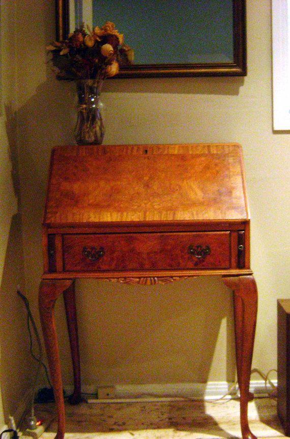 Antique French Secretary Desk Mahogany Maple Burl made by covici, $525.00 - Antique French Secretary Desk Mahogany Maple Burl Made By Covici