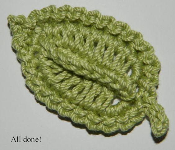 Crocheted Leaf Free Crochet Pattern Crochet Applique Pinterest
