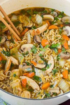 Asian Chicken Noodle Soup {cabbage, mushrooms, dry ramen, green onions, chicken, mirin, diced carrots, garlic, ginger, cilantro, rice vinegar, soy sauce, sesame oil, sriracha, chicken broth, vegetable oil, sugar, salt & white pepper}