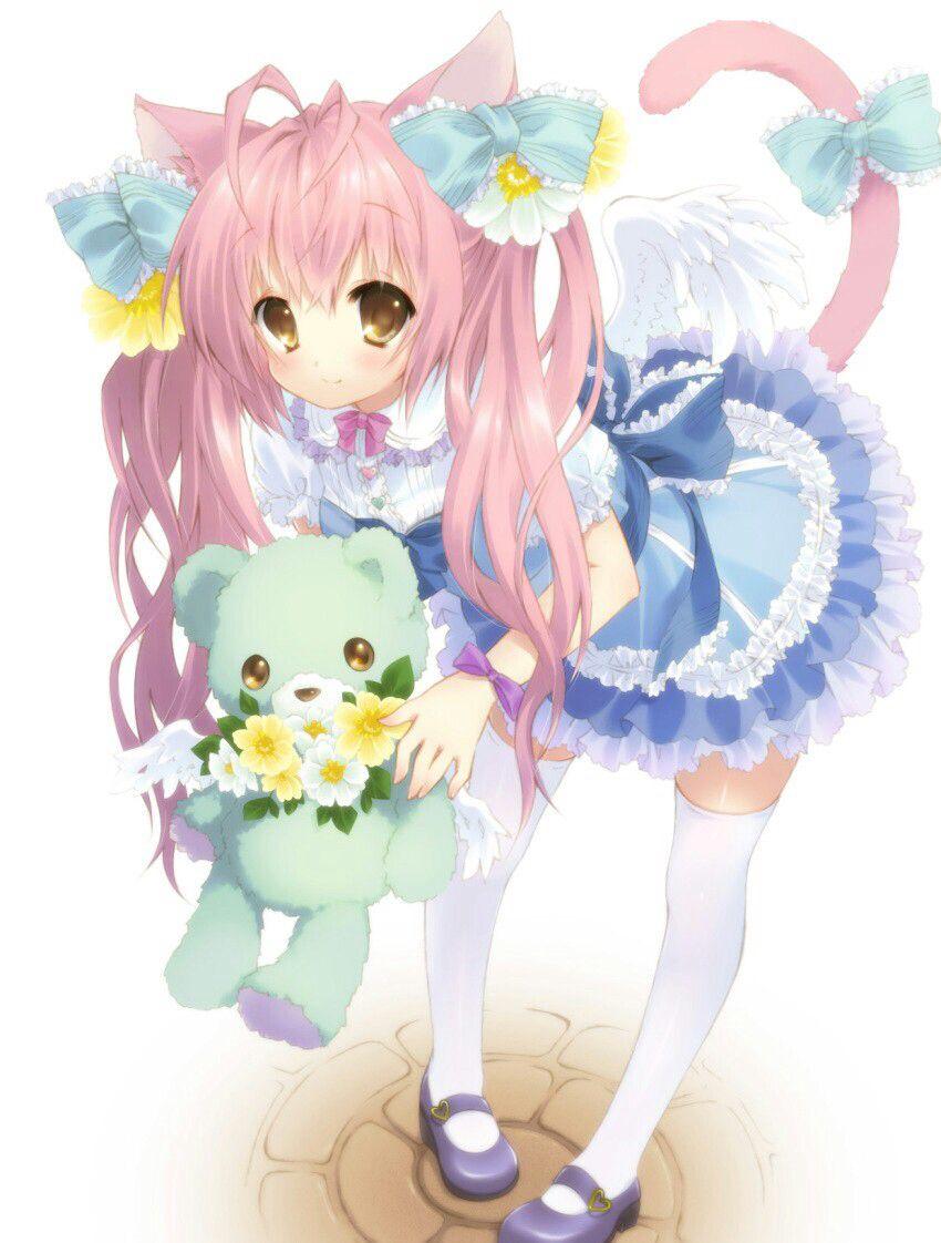 Cute anime girl with teddy bear Anime art Pinterest