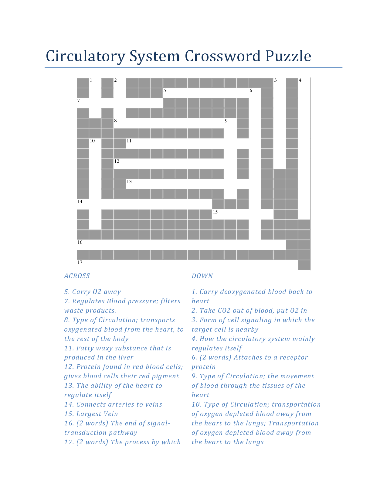 Respiratory System Crossword For Biology Class