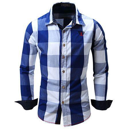 European size plaid design men's long-sleeved shirt casual shirt ...