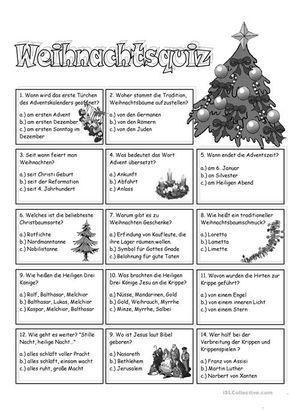 Weihnachtsquiz | Arbeitsblätter, Realschule und Grundschulen