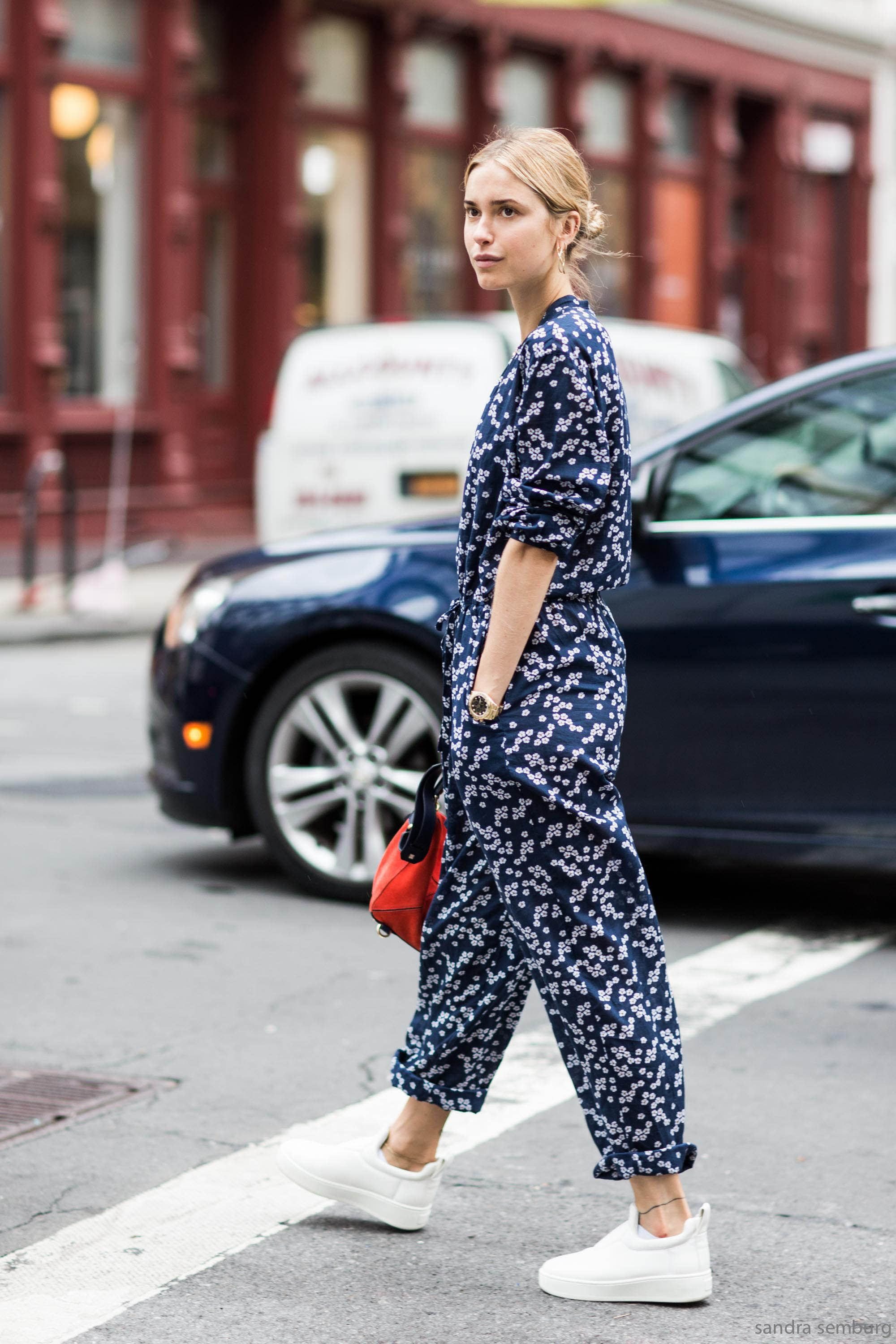 Cute navy jumpsuit and Celine slip-ons #streetstyle #outfit