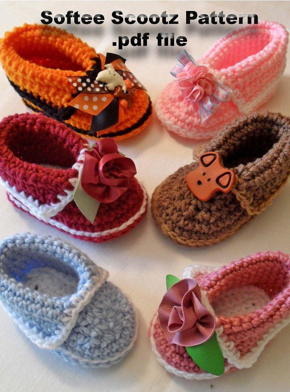 Softee Scootz PDF Pattern Baby Boy or Baby Girl Crochet Cuffed ...