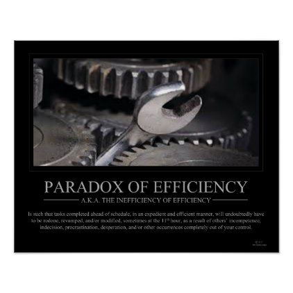 Paradox Of Efficiency Poster Zazzle Com In 2021 Paradox Custom Posters Inspirational Humor