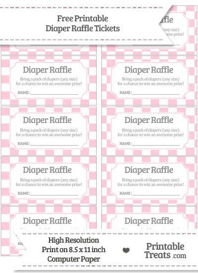 Free Pink Checker Pattern Diaper Raffle Tickets Baby Shower - free raffle tickets template