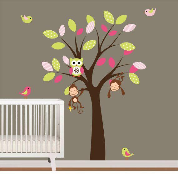 Children Vinyl Wall Decals Tree with Birds,Owls, and Monkey Wall Decals Nursery