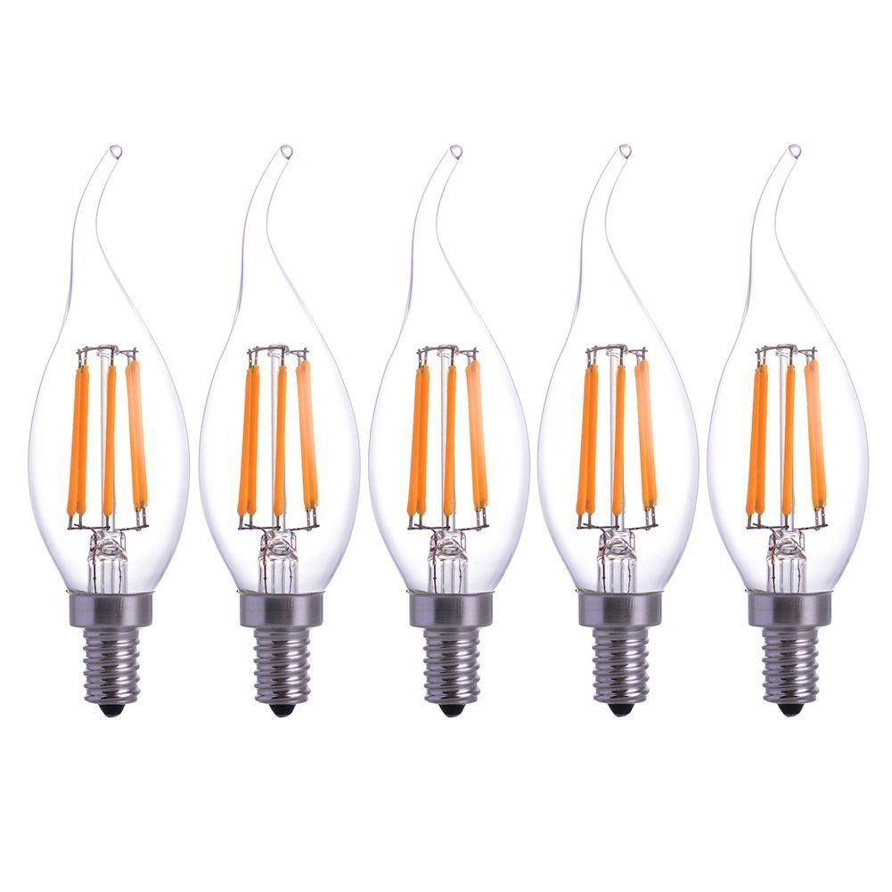 5pack Led Filament Candle Light Bulb 6w To Replace Incandescent 60w Bulb Soft White 120v E12 Beam Angle For Homerestaura Light Bulb Candle Light Bulb Wall Lamp