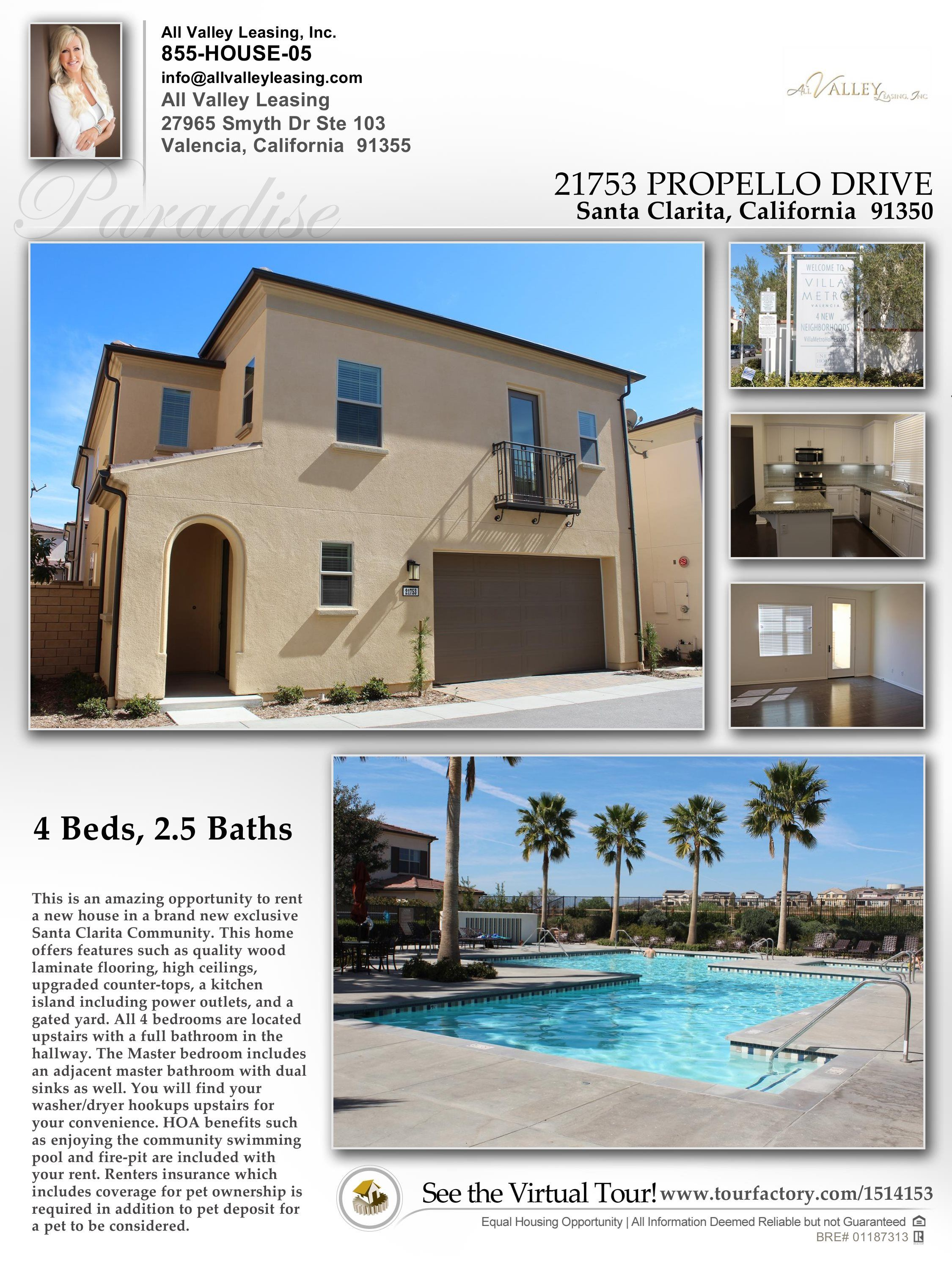 Hereus our newest listing in the brand new vista valencia community