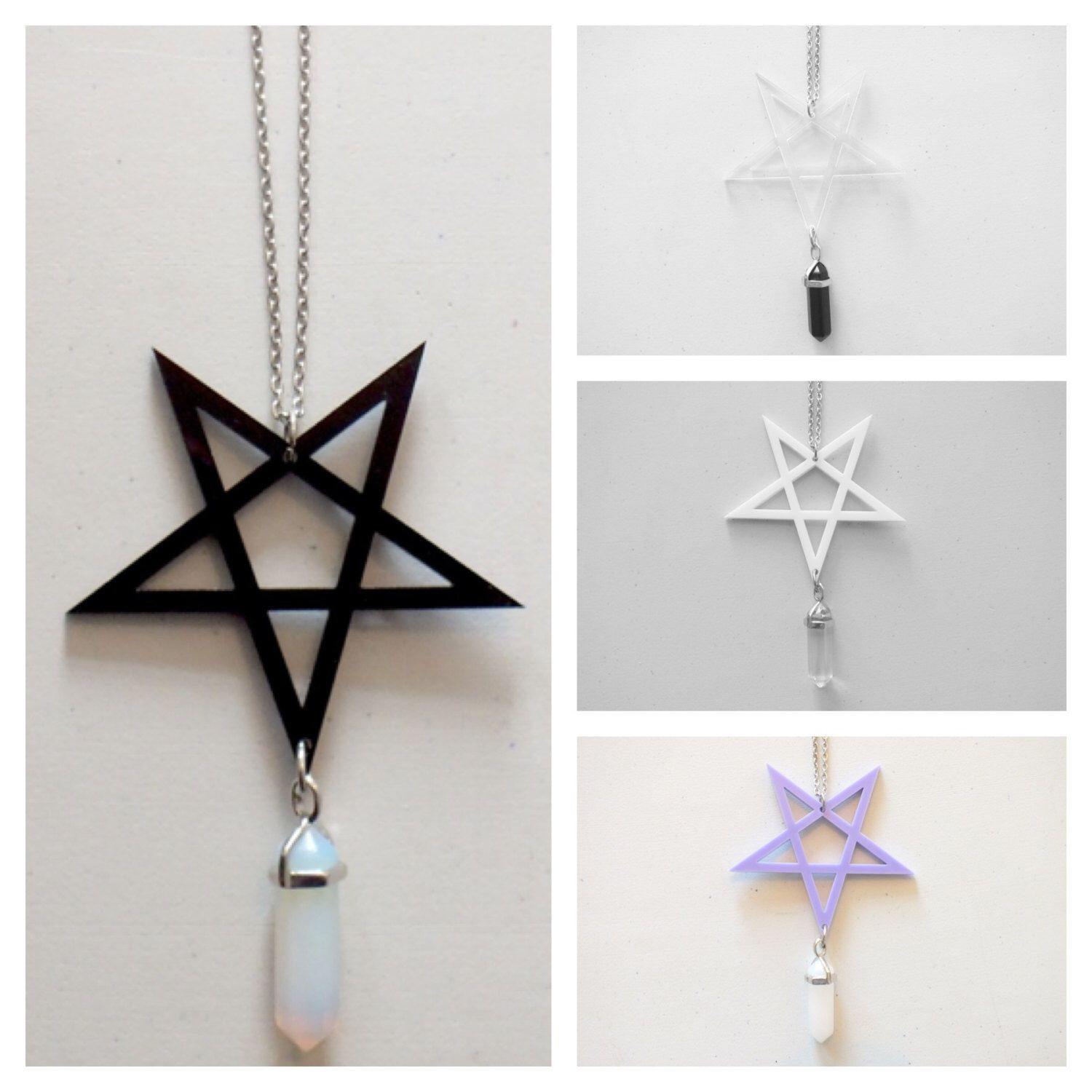 Pentagram star gem symbol pendant necklace by janenevermore on etsy