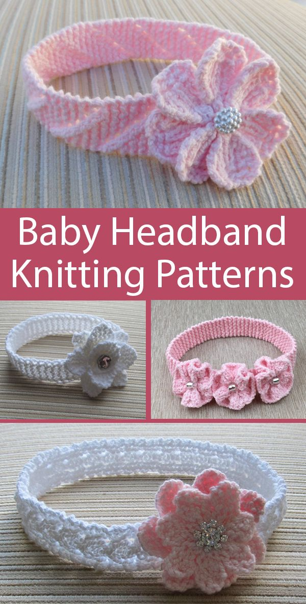 Knitting Patterns for Baby Flower and Lace Headbands -8 individual patterns for baby headbands with with a variety of knit blossoms, lace, ribbons, and more. Sizes 0-3, 3-6, 6-12, 12+ months. Designed by handknitsbyElena. #babyheadbands