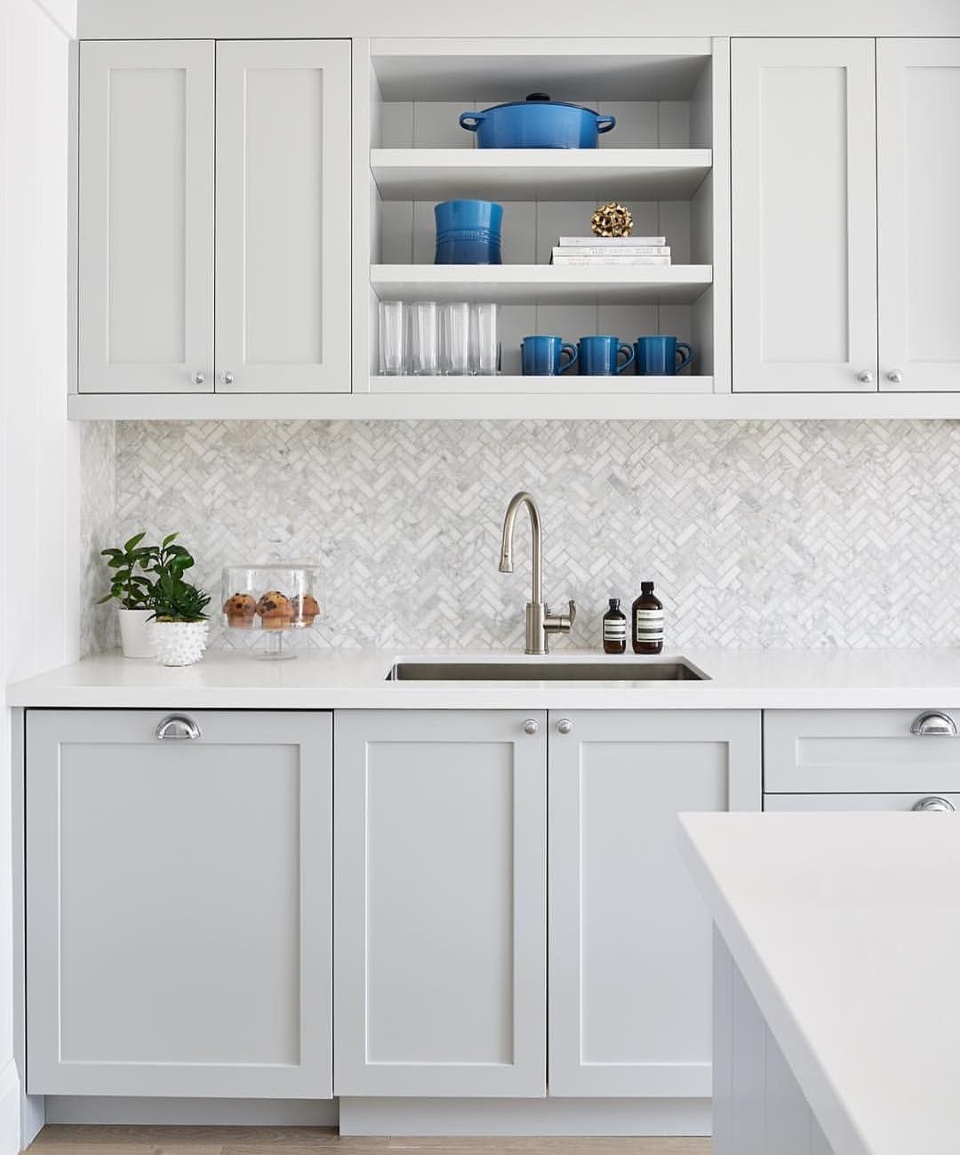 "Kitchens of Instagram on Instagram: ""Love this light gray cabinet with the marble backsplash! Stunning design from @rtgdesigns #kitchensofinsta"" #graycabinets"