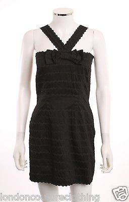 LIPSY LONDON CROSSOVER FRONT BOW AT TOP RICK RACK BLACK SLEEVELESS DRESS SZ 14