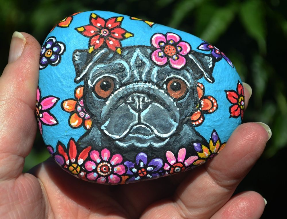 Pug Dog Colorful Unique Flower Original Hand Painted Painting Pet