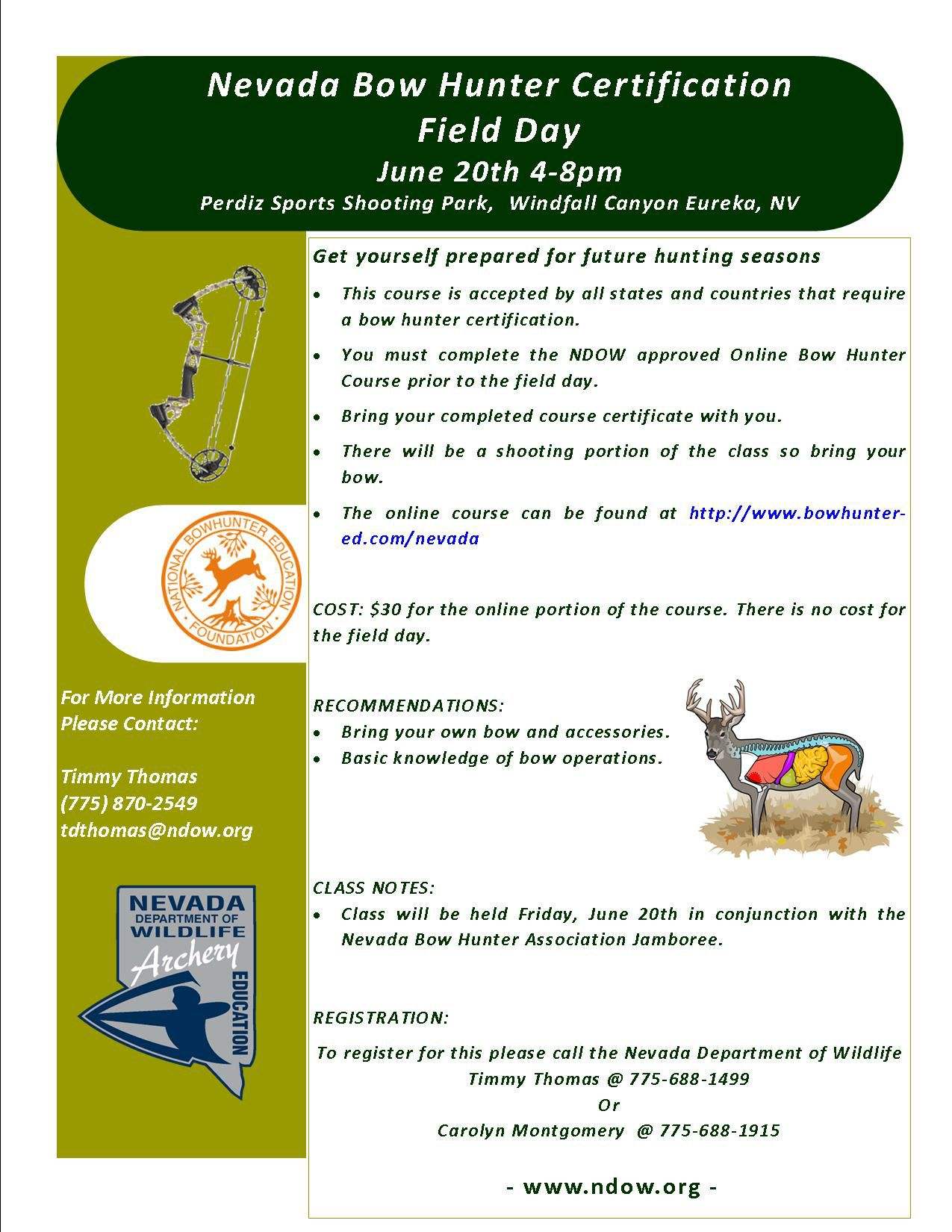 Nevada Bow Hunter Certification Field Day June 20th, 48pm