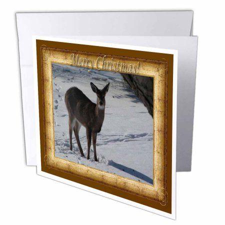 3drose deer standing in snow merry christmas greeting cards 6 x 6 3drose deer standing in snow merry christmas greeting cards 6 x 6 inches m4hsunfo