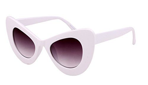 83b76d9b3e FEISEDY Cat Eye Retro Acetate Frame Polycarbonate Lenses Women Sunglasses  White   To view further for this sponsored item