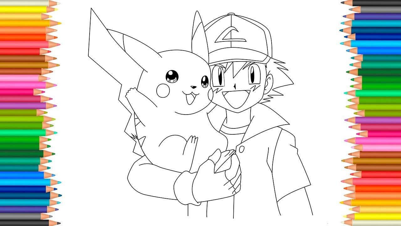 Ash And Pikachu Coloring Pages Pikachu Coloring Page Pokemon