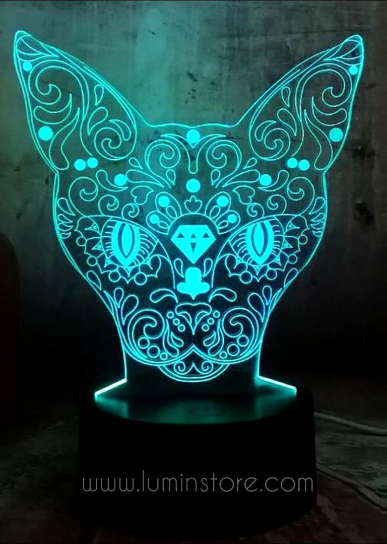 This Gorgeous Cat Head 3d Led Illusion Night Light Lamp Makes An A Excellent Gift For You And Your Loved En 2020 Veilleuse Decoration De Salle De Jeux Veilleuse Enfant
