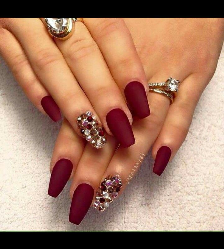 Hate the rhinestones but lovee that matte maroon color | Nails ...