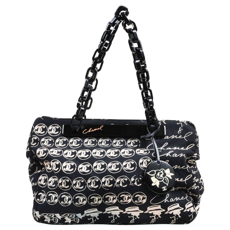 226defe287ee Chanel Black Canvas Blush Script Print Plastic Chain Strap Frame Shoulder  Bag