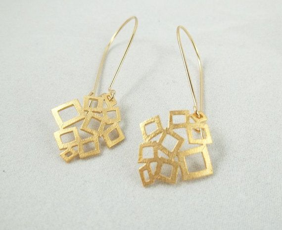 Geometric 16kt Gold Earrings Kidney Earwires by LadyKJewelry, $18.75