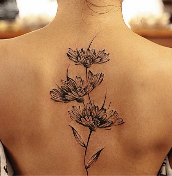 d8a4818eb Chen Jie, tattoo artist. I love these black daisies. Also, amazing  watercolor style tattoos on the site too.