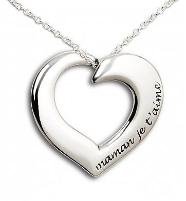 Mom, I Love You Silver Heart Necklace: Specialty Gifts - A meaningful engraved Mother's Day necklace hand-crafted in the USA.