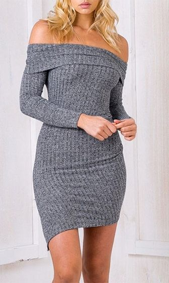 64d0b9fd2c Grey Area Heather Charcoal Long Sleeve Off The Shoulder Ribbed Bodycon  Sweater Mini Dress
