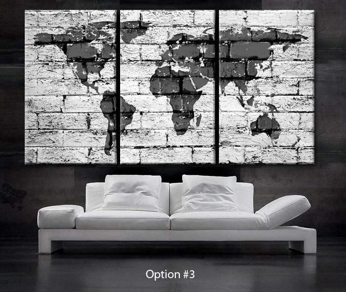 Large 30x 60 3 panels art canvas print beautiful world map bricks concrete