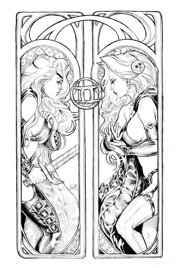 Lady Death Zodiac Gemini Lines By ToolKittendeviantart On DeviantART